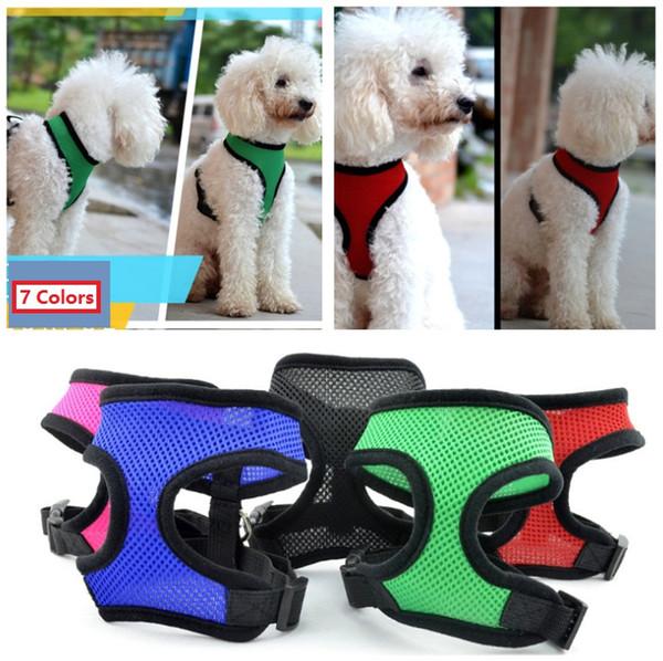 top popular Brand new Pet dog Nylon Mesh Harness Strap Vest Collar Small Medium-sized Dog Puppy Comfort Harness 7 colors 2020