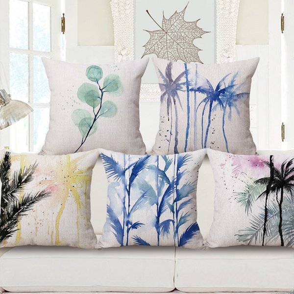Amazing Blue Ink Color Palm Cushion Cover Tropical Decorative Pillows Case Sofa Couch Chair Home Decor Leaf Plant Cojines Cushion For Patio Furniture 24X24 Bralicious Painted Fabric Chair Ideas Braliciousco