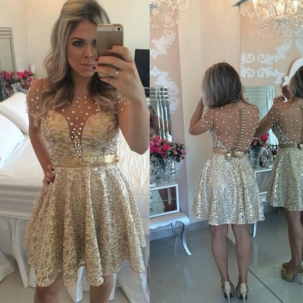 top popular New Gold Blinbling Short Sleeves Homecoming Dresses Beadings See Through Back Pearls Sequins Short Prom Dresses Sequins Cocktai Dresses 2020