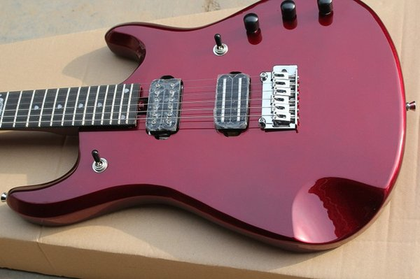Rare JPX 6 Music Man Ernie Ball JohnPetrucci Metallic Red Electric Guitar 9V Back Battery Active Pickups,Double Locking Tremolo Bridge