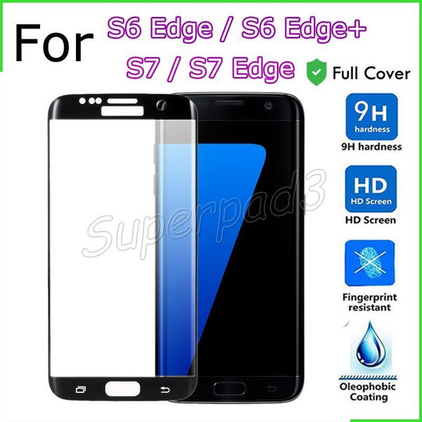 30pcs Curved Edge Full Cover Tempered Glass Mobile Phone Screen Protector Anti-scratch Film For Samsung S7 Edge S6 Edge+ With Retail Box
