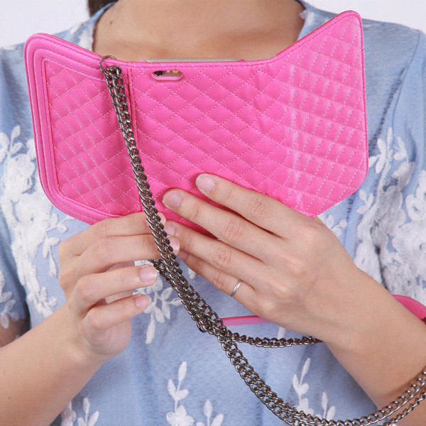 6S/6+ Phone Case For iPhone 6 6S Plus 5.5 Grid Fashion Mini Wallet Purse + Mirror Leather Cover Metal Chain For Apple