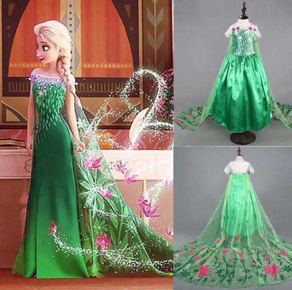 Großhandel Gefrorene Kostüm Fieber Inspirierte Grüne Maxi Split Elsa ...