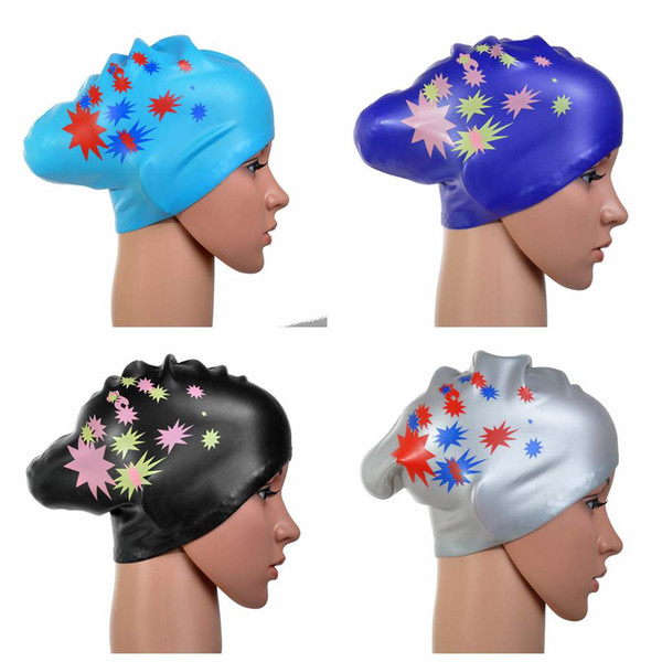 1268a7a4a6c Wholesale&Retail Women Girls Waterproof Silicone Swim Cap Long Hair With  Ear Cup Bathing Hat