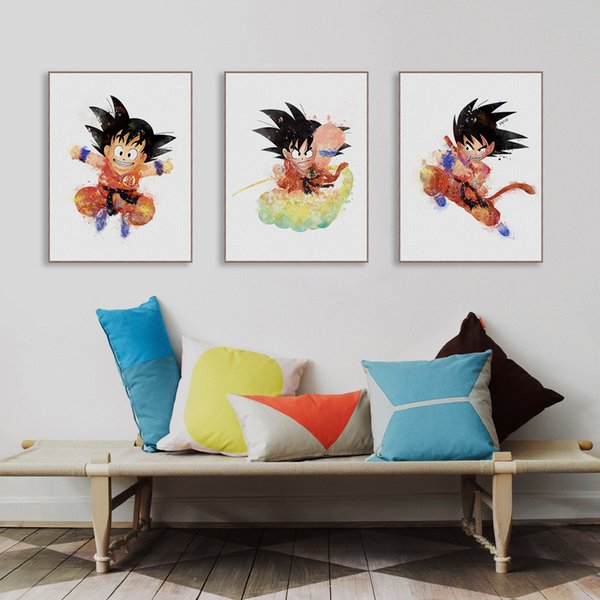 3 Pieces Modern Watercolor Japanese Anime Dragon Ball Canvas A4 Art Print Poster Goku Wall Picture Home Decor Paintings No Frame