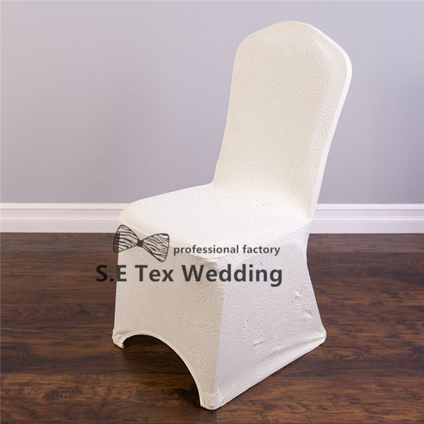 New Design 300gsm Embossed Lycra Spandex Chair Cover For Banquet Wedding Decoration - Wholesale Price