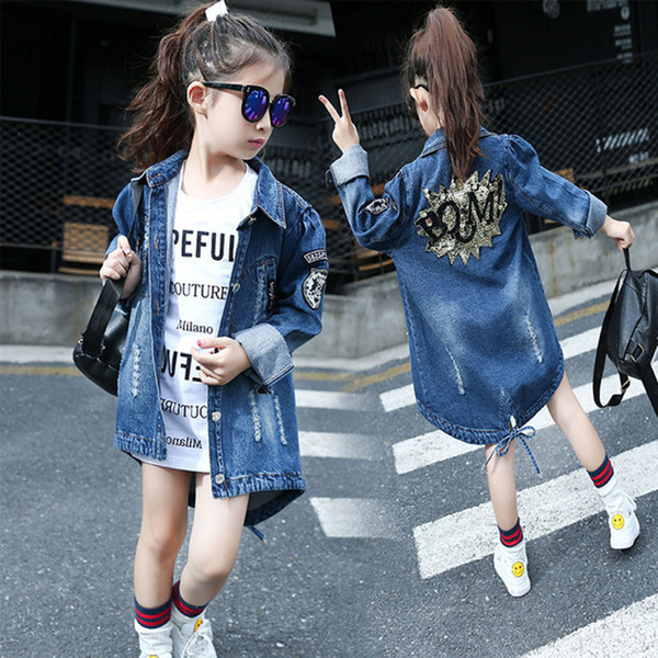 top popular Girls Denim Jackets Jeans Back Shinny Flower Pattern Children Cowboy Long Style Top Dress Coat 120-160 2021