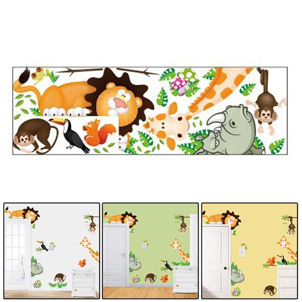 Yeni Sıcak Hayvanlar Zürafa Aslan Maymun Güzel Çocuk Odası Çıkarılabilir Duvar Duvar Sticker, Çocuk Odası Dekor adesivos para parede E5M1 order $ 18no tra