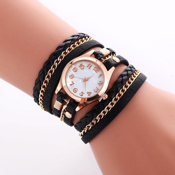 best selling Fashion Colorful Vintage women watches Weave Wrap Rivet ladies Leather Bracelet wristwatches chain dress watches for women ladies