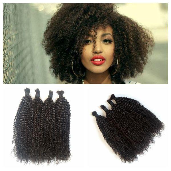 best selling 4pcs Lot Virgin Human Hair Bulk For Braiding Malaysian Afro Kinky Curly Bulk Hair No Weft 8-30inch G-EASY