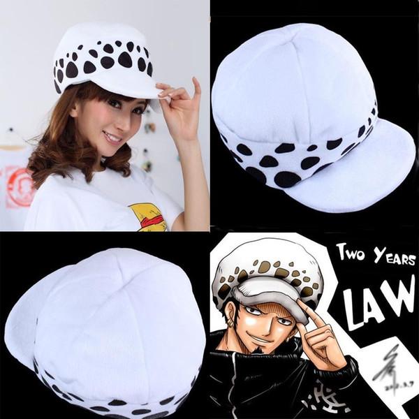 10PCS Cartoon One Piece Hat Cosplay Trafalgar Law Hat Two Years Later Plush Cartoon Cap White T
