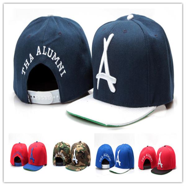Cheap THA Alumni Snapback Hats A Letter Hiphop Cap Street Popular Adjustable Hats for Men Women