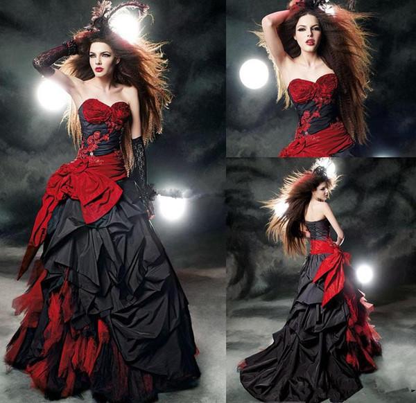 Abiti da sposa gotici neri e rossi vintage Modest Sweetheart Ruffles Satin Lace Up Back Corset Top Ball Gown Abiti da sposa