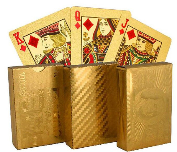 200pcs hot 3 designs Gold foil plated playing cards Plastic Poker US dollar / Euro Style / General style D663