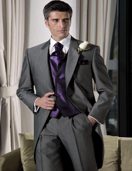 Wholesale- Grey 2017 groomsmen suits Leisure Men's morning Prom tailcoat Gentleman Gun collar wedding suits for men(jacket+pant+vest+tie)
