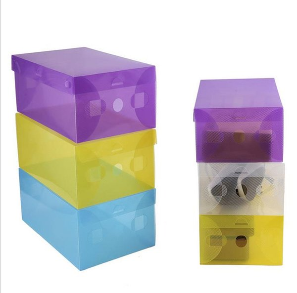 Hot Sell CLEAR DIY plastic FOLDABLE storage box for SHOES (Random Send Colors) Transparent plastic box free shipping