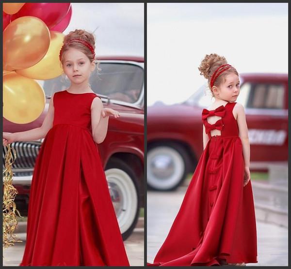 carino Abito da spettacolo in raso rosso per ragazza lungo A-Line Gioiello con collo laurea Compleanno Abiti Bambini Abiti da ballo senza schienale