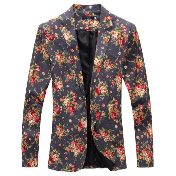 Wholesale- Mens Royal Red Floral Blazer Slim Fitted Party Single Breasted Blazers Men One Button Suit Jacket Stage Costumes For Singers