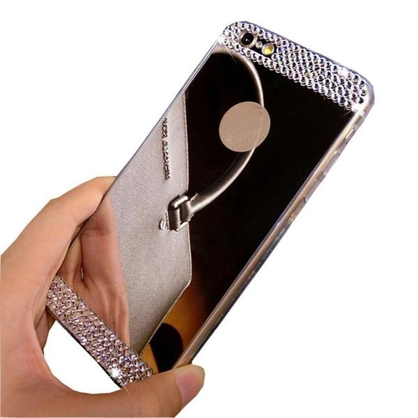 Luxus strass diamant spiegel tpu weiches gel bling case abdeckung für apple iphone6 6s plus se case back cover