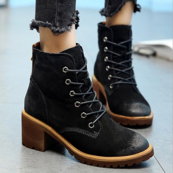 2017 New Autumn Winter Women Boots High Quality Solid Lace-up European Ladies shoes Cow Leather Fashion Boots Free Shipping