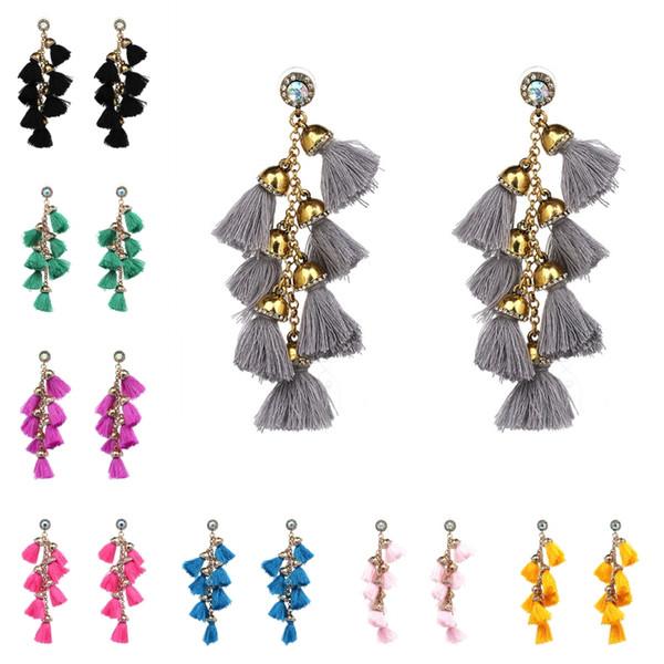 2017 Bohemia Tiered Long Tassel Earrings For Women Rhinestone Hanging Dangle Earrings Statement Jewelry Pendientes 11 Styles B663S
