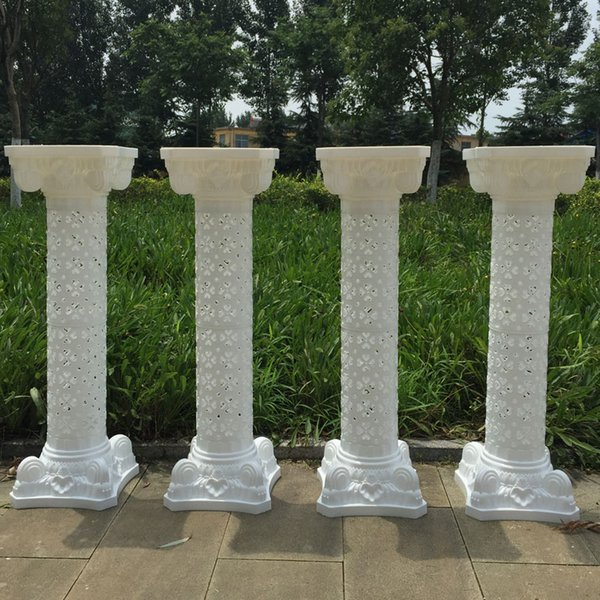 European Style 98 cm Height White Upscale Plastic Hollow Roman Column Wedding Welcome Area Decoration Photo Booth Props Supplies