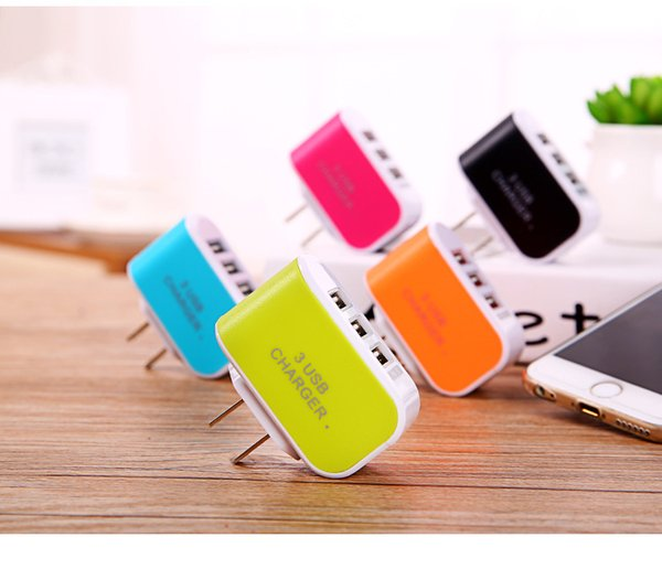 wall charger 5V 3.1A EU US Plug 3 Ports Multiple LED Wall USB Smart Charger Adapter Mobile Phone Device Fast Charging for iPhone6S DHL free