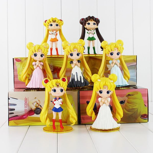 "6""15cm Q Posket Sailor Moon Figure Queen Princess Serenity Tsukino Usagi Jupiter Venus Pluto Action Figures Dolls High Quality"