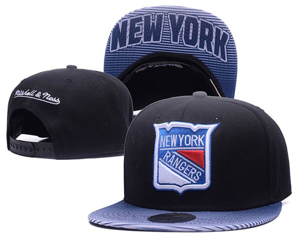 New Herren Schwarz Farbe New York Rangers Hysteresenhüte Sport Hockey Einstellbare Baseball Caps Sommer Outdoor Hut