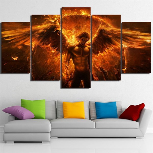 5 Panels Black magic flame angel Modern Abstract Canvas Oil Painting Print Wall Art Decor for Living Room Home Decoration(Unframed/Framear