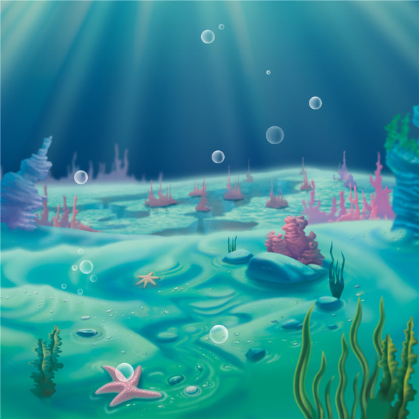 Beautiful Scenery Under the Sea Backdrop for Photography Sunshine Bubbles Algae Coral Kids Children Cartoon Photo Studio Background Vinyl