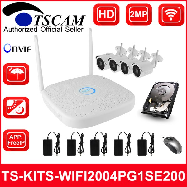 TSCAM new 4CH Wireless WIFI NVR kits HD 1080P 2MP Bullet IP Camera IR Security System Video Surveillance P2P ONVIF