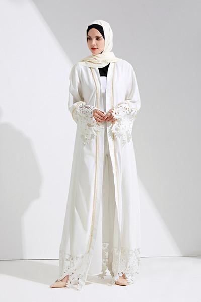 best selling Wholesale Muslim Women White Lace Abaya Dress Factory Price Islamic Women Lace Evening Party Jilbab Dress