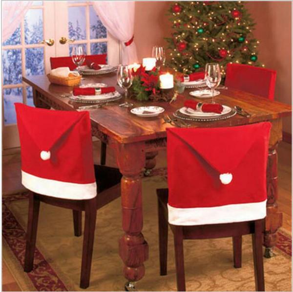 Babbo Natale Red Hat Natale Sala da pranzo Sedia Coprisedile Posteriore Cover Coat Home Party Decor con Tappo di bottiglia