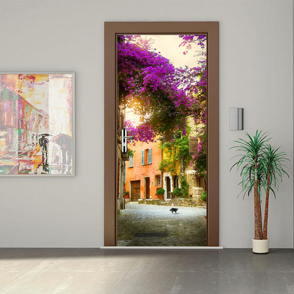 3D Door Mural Stickers Landscape Gadren HouseLiving Room Bedroom Door Purple Tree Flowers Sticker Self Adhesive Art Wall Decals 3D Decor