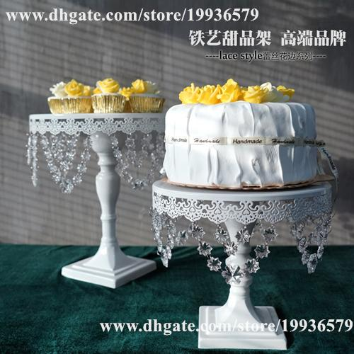 """metal cake dessert stand with crystal beads and dangles 10"""" & 12""""diameter plate white"""