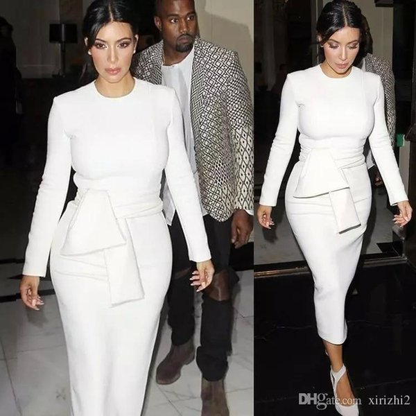 Nouveau Femmes Sexy Bodycon Bandage Dress À Manches Longues 2016 robes Automne Kim Kardashian Crayon Dress Blanc