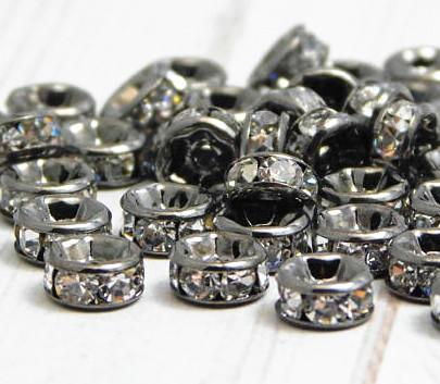 top popular BULK LOTS 50 PCS Gun Black Metal With Clear Crystal Rondelle Rhinestone Beads Spacer Findings For Jewelry Making in 6mm 2021
