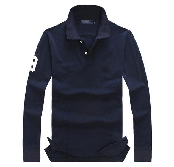M-4XL New Men Polo Shirt Big Horse men's lapel long sleeve polo shirt Casual t shirt