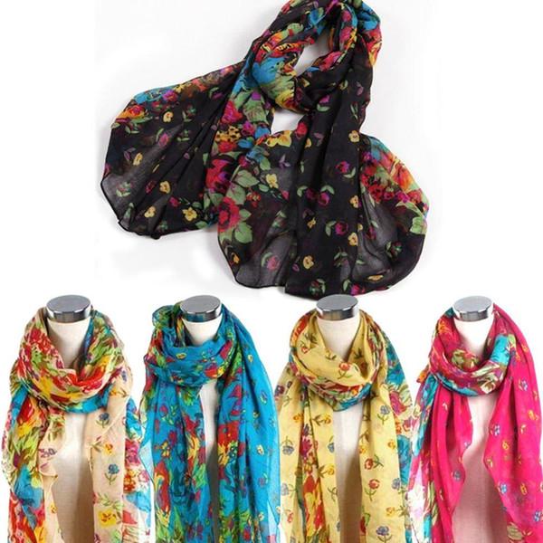 Envío Bohemian mujeres Floral dulce encantadora bufanda envuelve flor Vintage Pashmina bufanda negro / amarillo / naranja / azul / rojo / Beige
