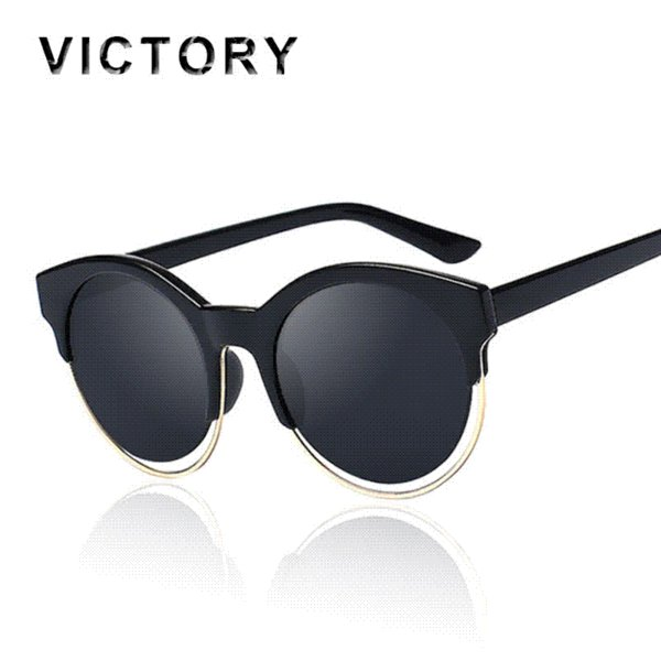 07d669011 Cat Eye SIDERAL Sunglasses Brand Designer Round Sunshades Semi-Rimless  Women Fashion Celebrity Rihanna Mirror