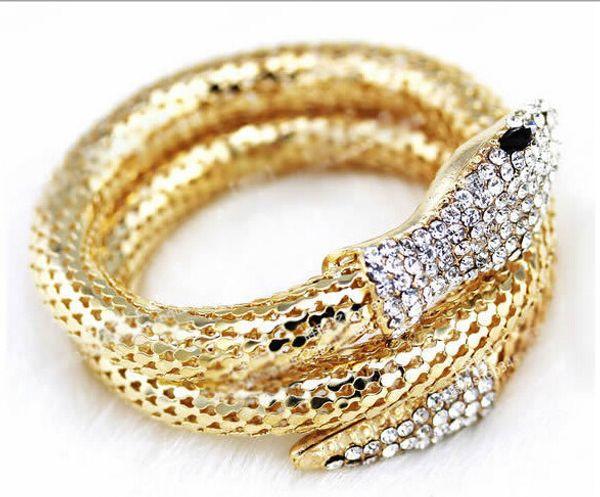 Wholesale-Fashion Vintage Nightclub Alloy Bracelets & Bangles Punk CZ Diamond Multi-strand Snake bracelets For Women And Men Jewelry FB38