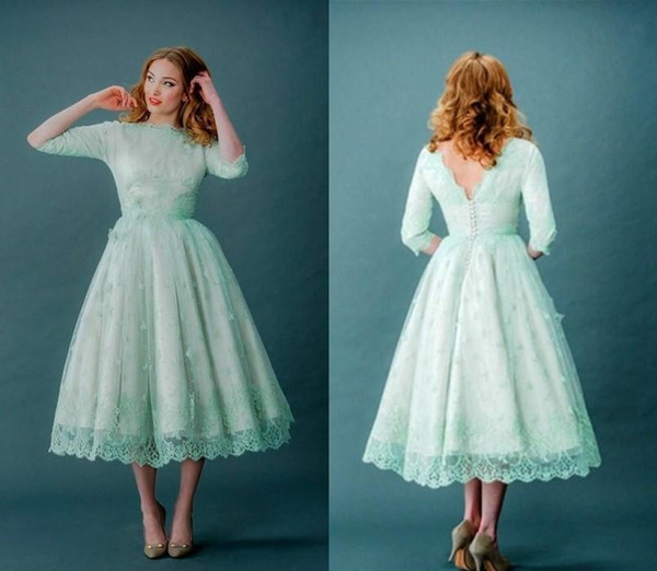 2016 New Mint Green Lace Bridesmaid Dresses Long Sleeves Bateau Tea-Length Cheap Modest Country Maid of Honor Party Prom Gowns Plus Size