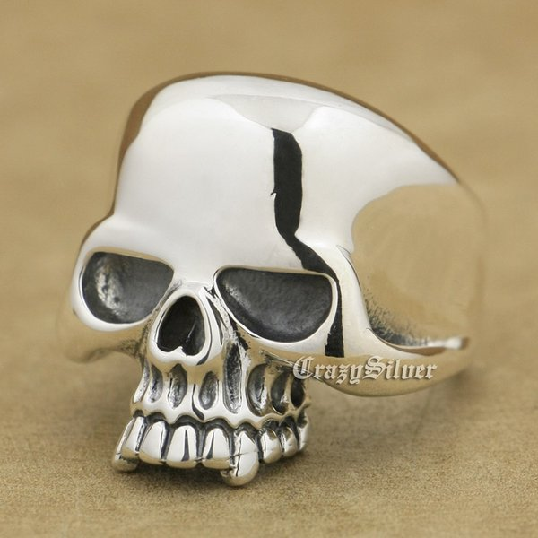 925 Sterling Silver Huge Skull Mens Biker Rocker Punk Ring 9W025 US Size 7 ~ 15