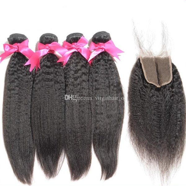 8A Grade Peruvian Afro Kinky Straight Hair With Closure 5Pcs Lot Italian Coarse Yaki Lace Top Closure Pieces 4x4 With Hair Bundles