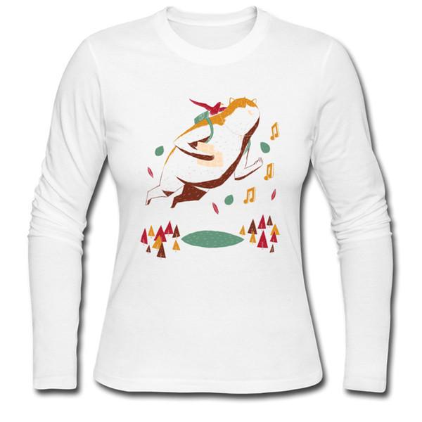Acheter Tee Shirts Pour Fille Simple Dessin Imprimé Whimsical Volant De Chat Vente Chaude Femmes à Manches Longues Nouveau Coton T Shirt De 2993 Du