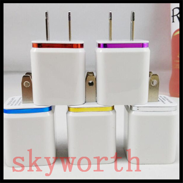Metal enchufe USB de pared doble US 2.1A cargador de pared adaptador de corriente alterna enchufe 2 puerto para Samsung galaxy nota tableta LG