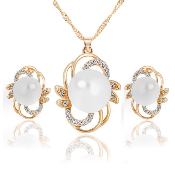 Pendientes + Collar colgante (2 piezas en total) Collar de aretes de perlas simples Conjunto WoaJewelry Juego Factory Outlet