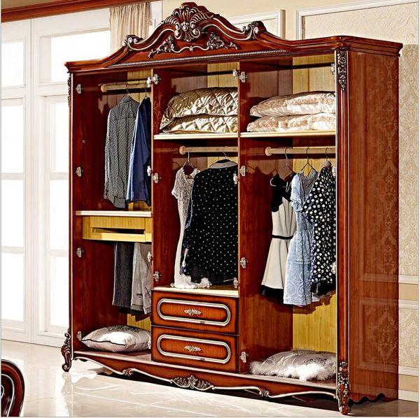 hot selling new arrival four door wardrobe Antique European whole wardrobe French rural furniture wardrobe pfy5000