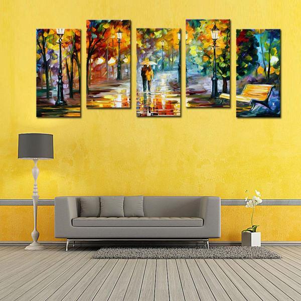 5 Panel Amante Lluvia Street Tree Lámpara Paisaje Pintura al óleo sobre lienzo Arte de la pared Cuadros para la sala Decoración para el hogar (Sin marco)